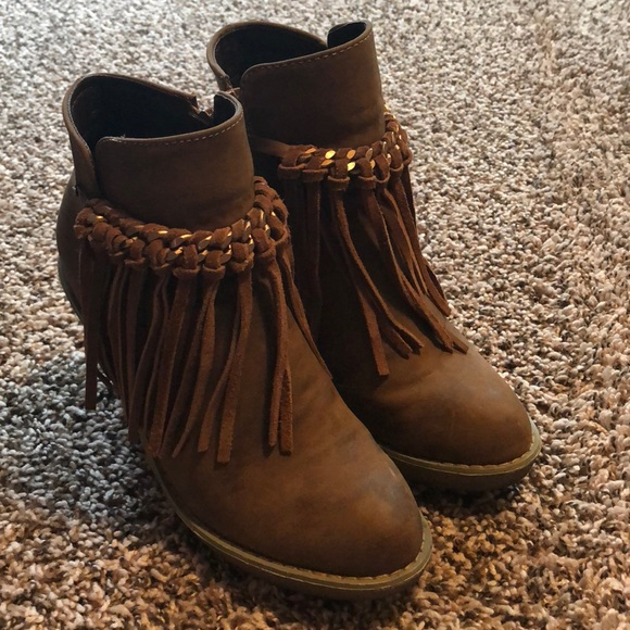 5623e98293b Corky s Shoes - Corky s Brown   Gold Tassel Wedge Booties
